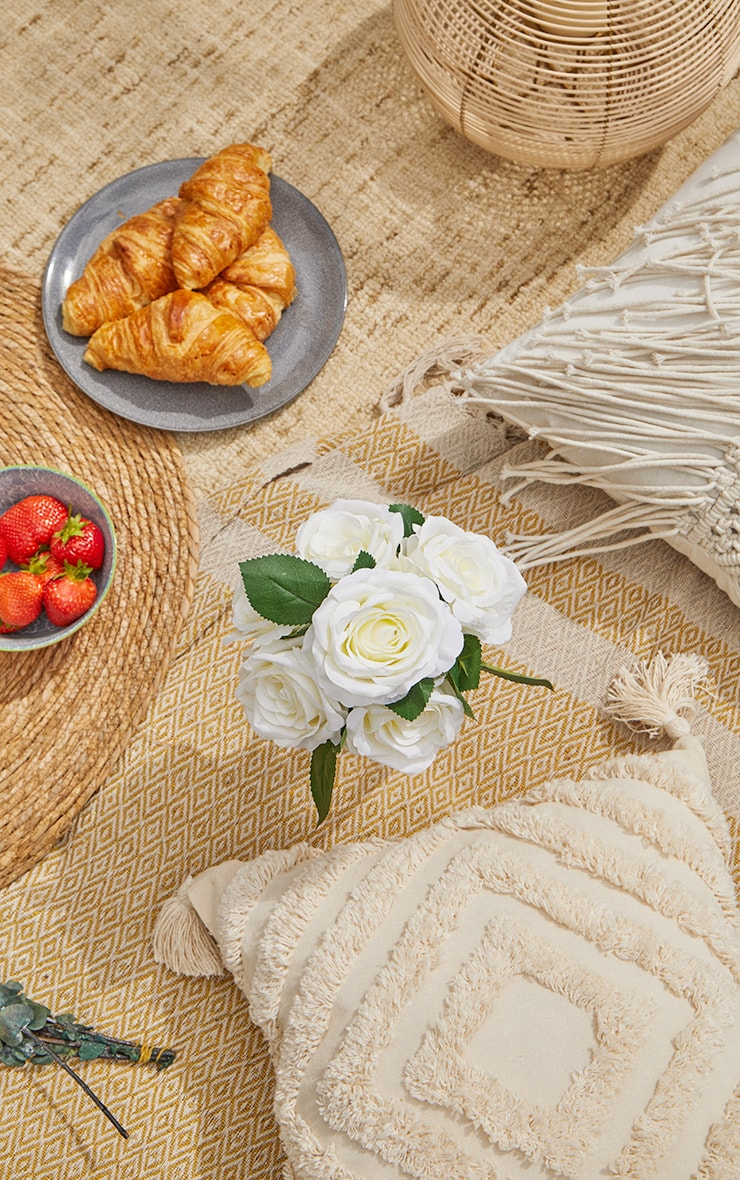 White Silk Eternity Rose Bunch Artificial Flower 1