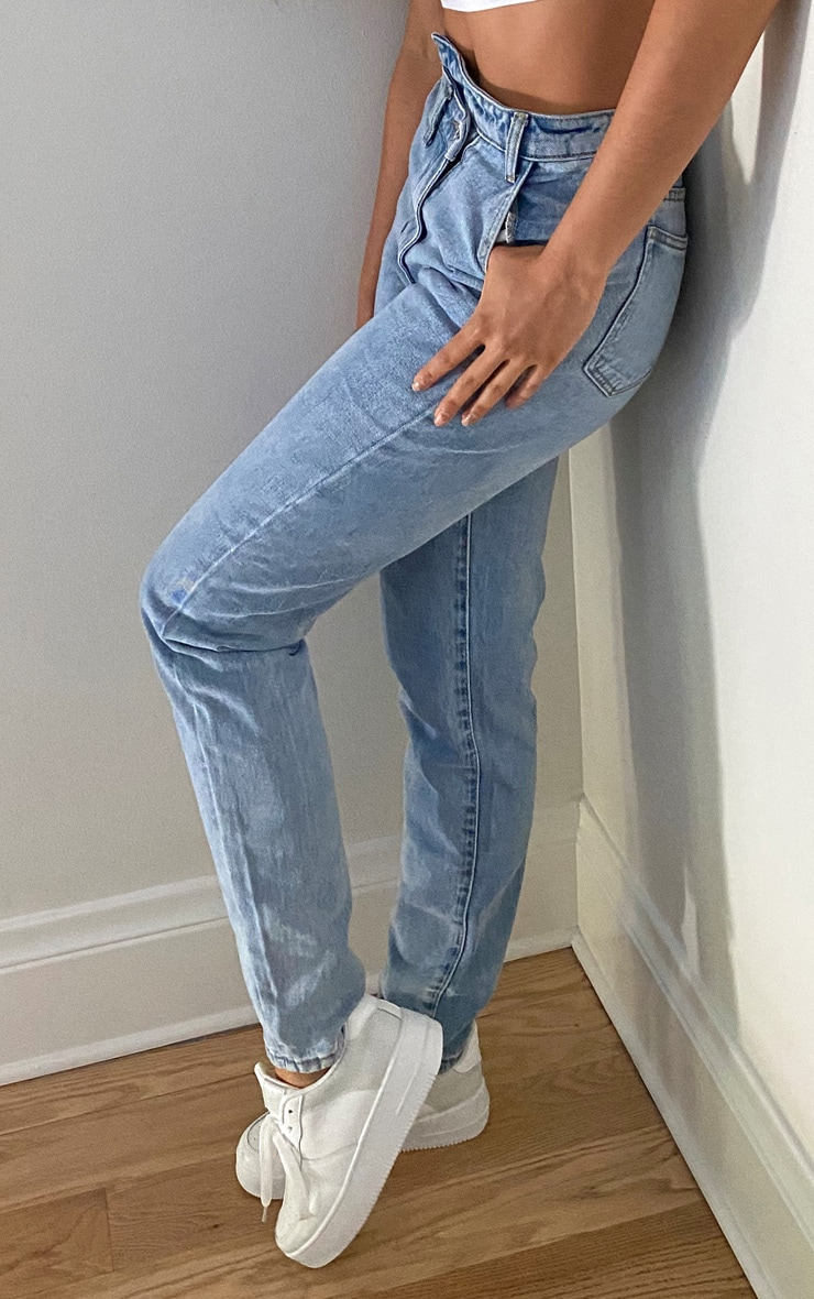 Tall Light Blue Wash Asymmetric Waistband Jeans 2