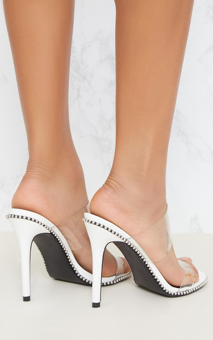 White Studded Clear Mule  5