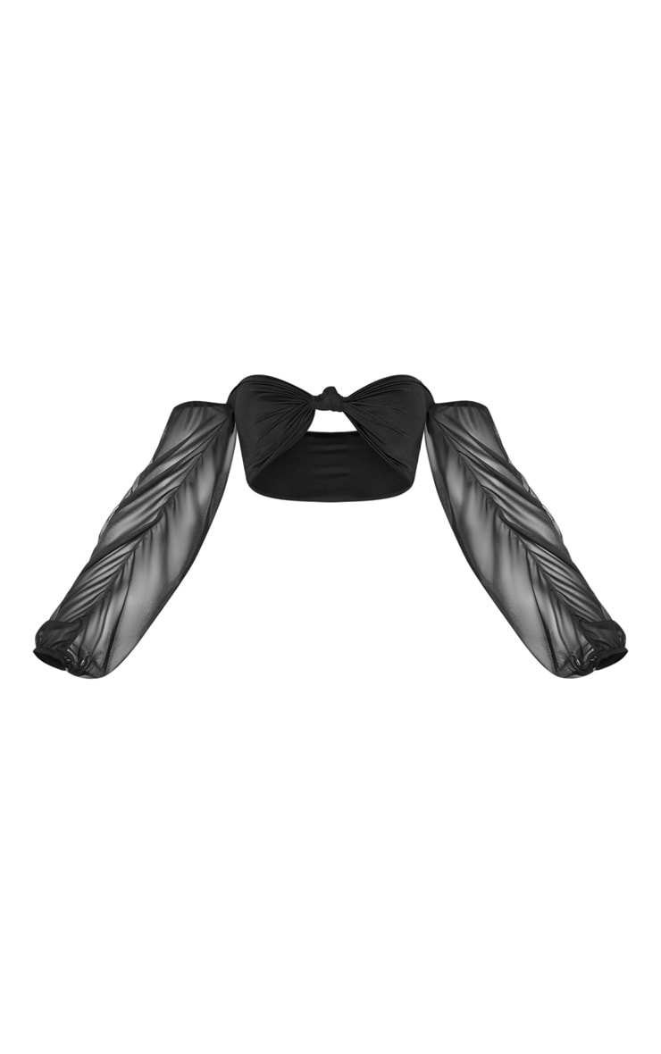 Black Puff Sleeve Strapless Bikini Top 6