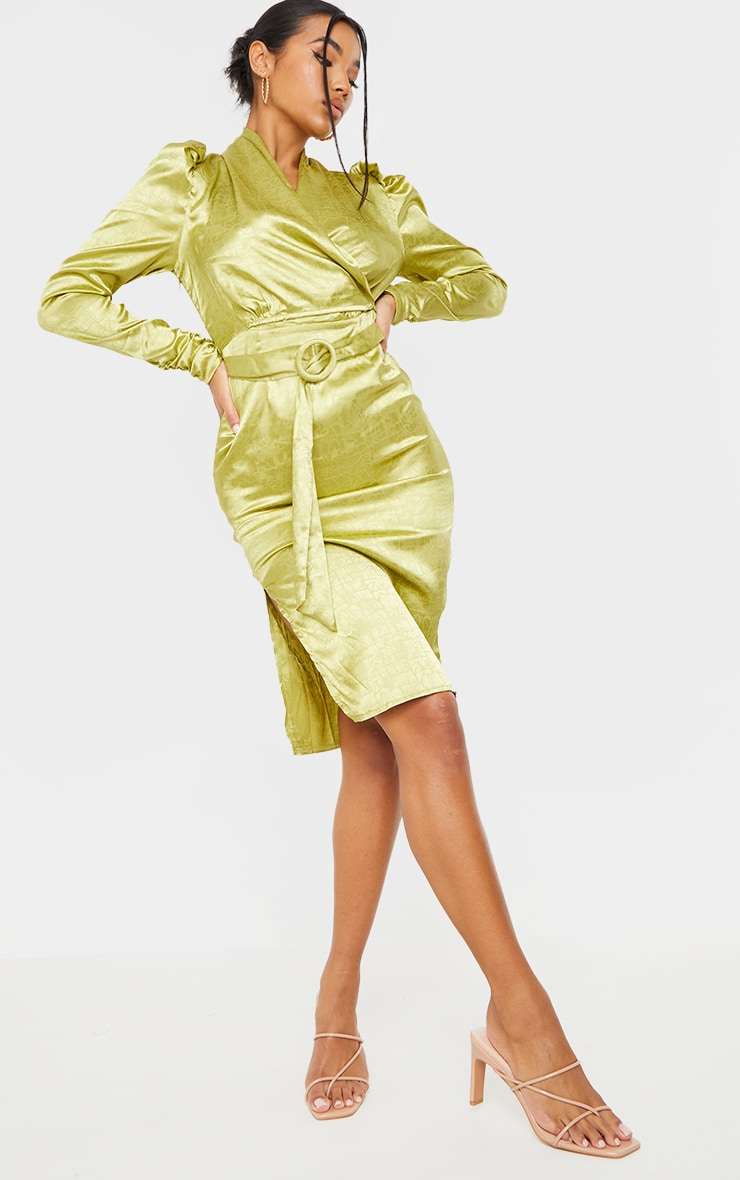 Sage Green Satin Jacquard Ruched Sleeve Wrap Midi Dress 3