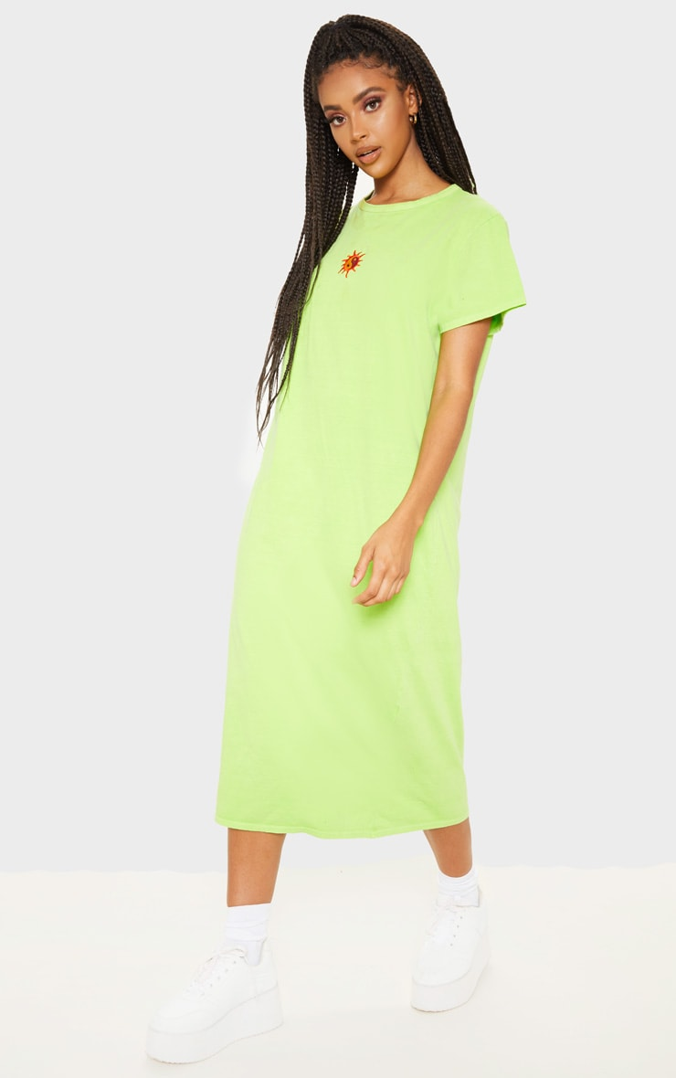Lime Sun Embroidered Oversized T Shirt Midi Dress 4