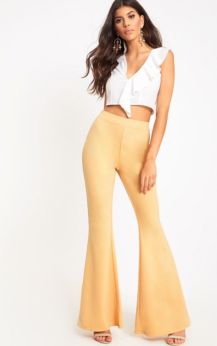 Light Gold Fitted Wide Leg Trousers  1