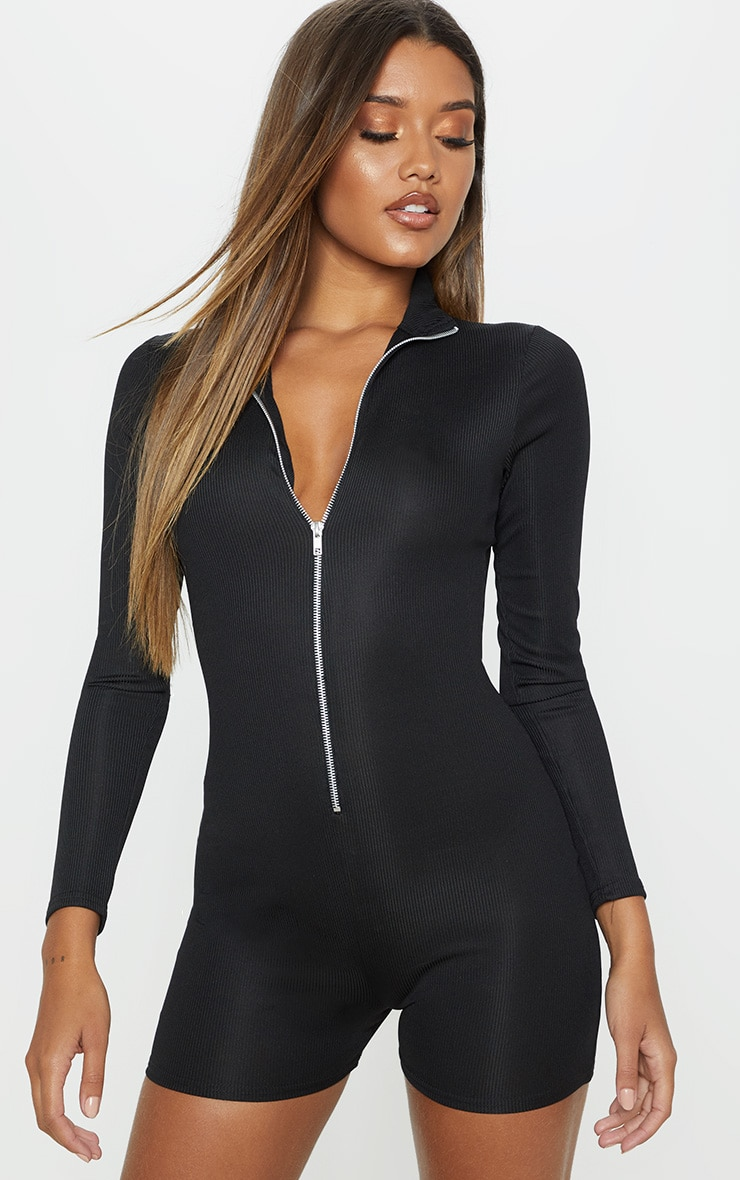 Black Fine Rib Zip Detail Unitard 4