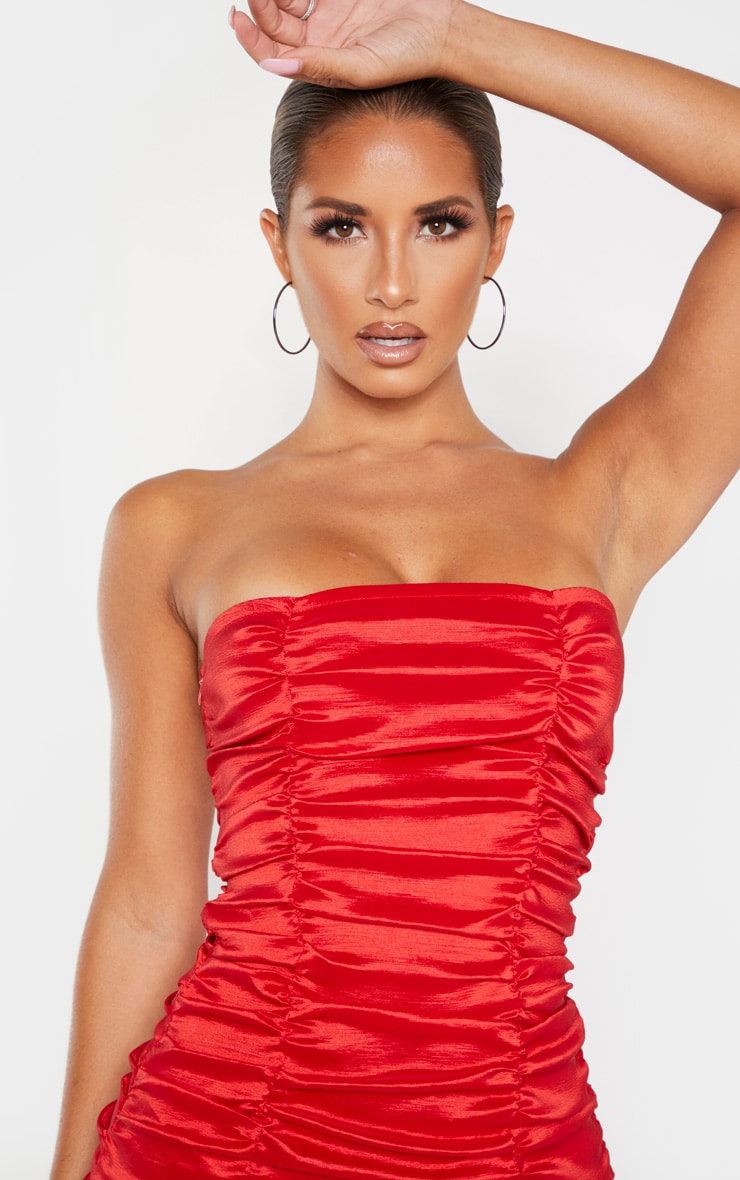 Red Woven Ruffle Frill Hem Bandeau Bodycon Dress 5