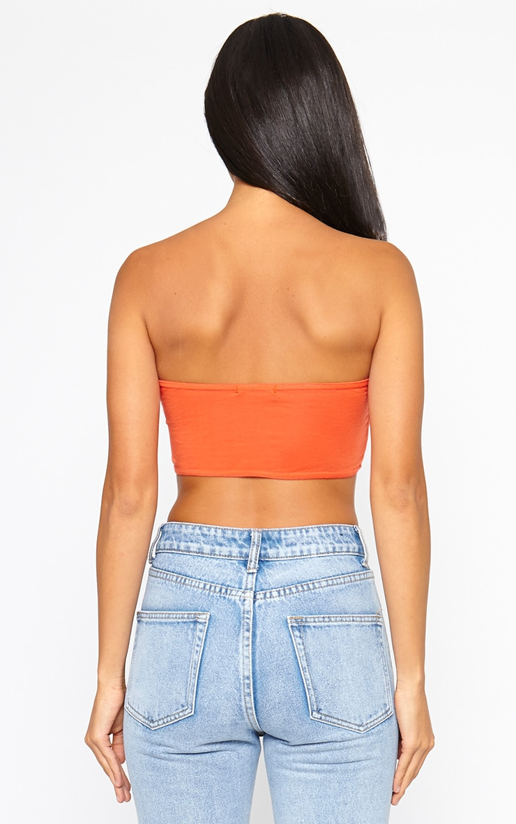 Basic Orange Ruched Front Bandeau Top 2