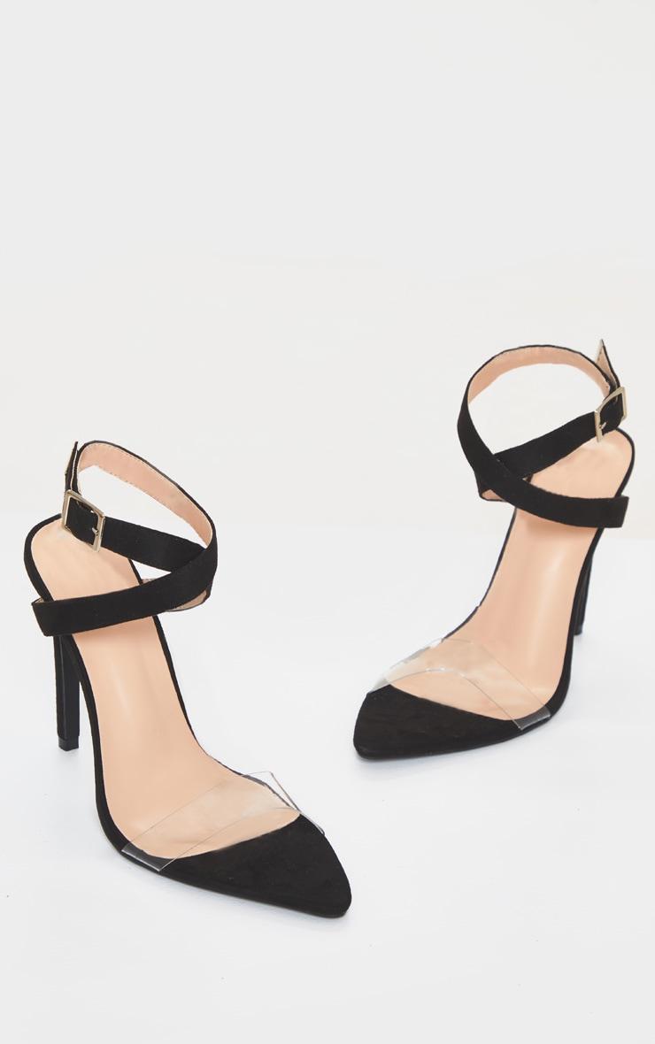 Sandales pointure large noires pointues à bride transparente 3