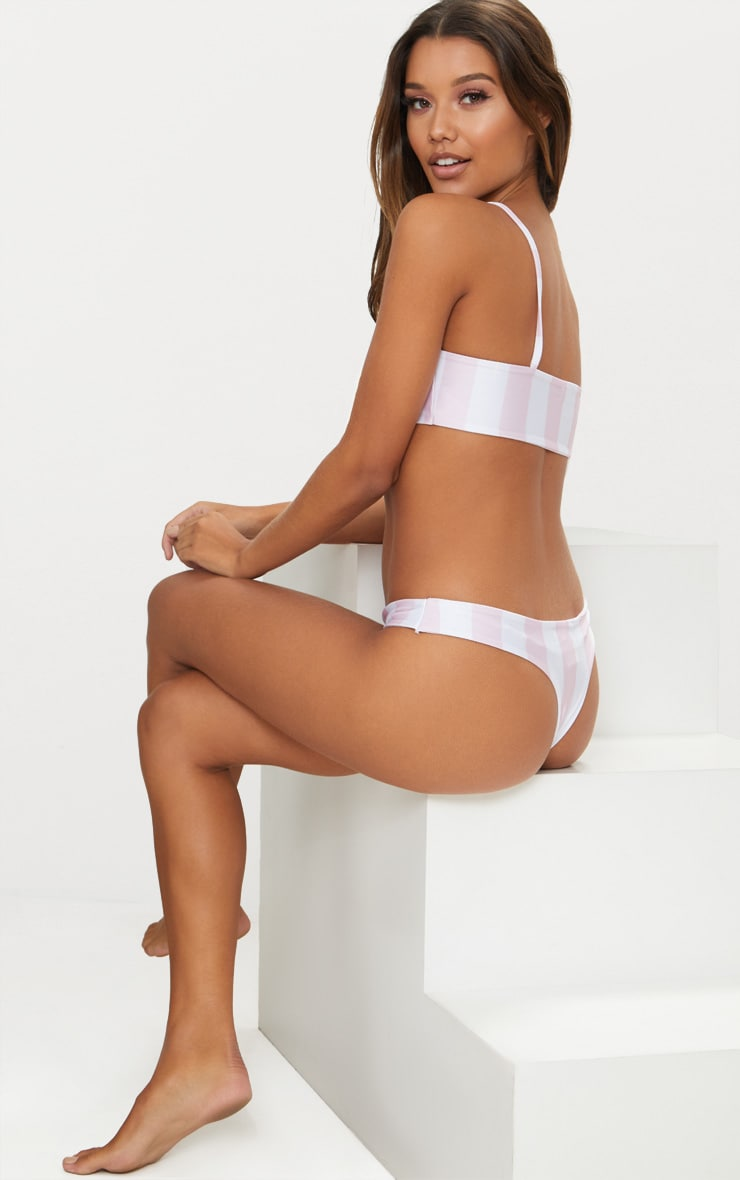 Pale Pink and White Striped Low Scoop Bikini Top 2