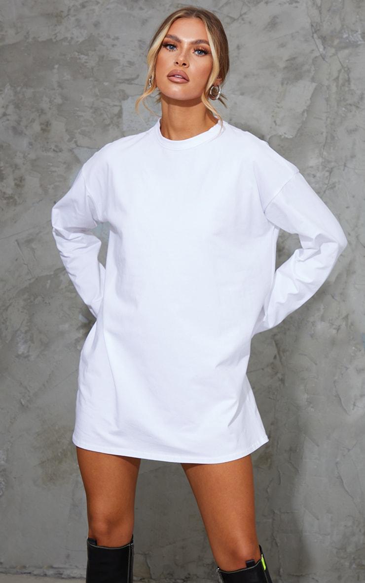White Cotton Round Neck Long Sleeve T Shirt Dress