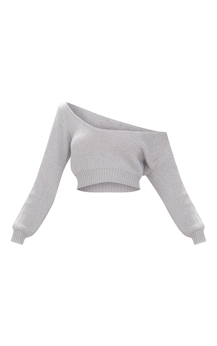 Grey V Neck Off Shoulder Soft Knitted Crop Sweater 3