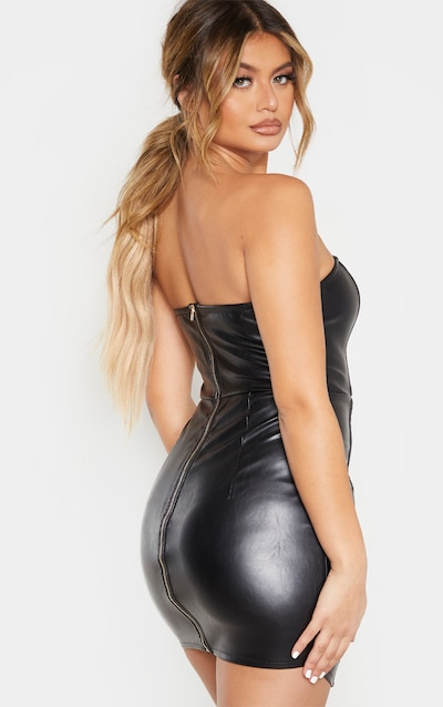 Black Faux Leather Binding Detail Bodycon Dress