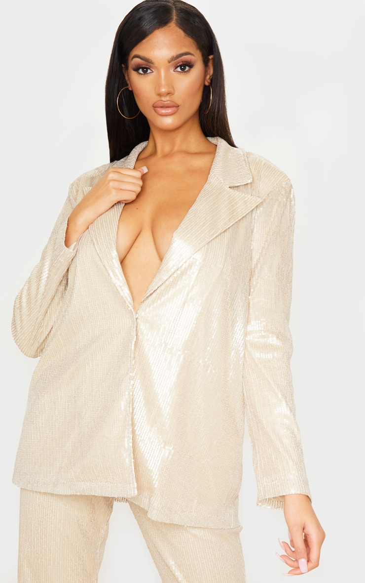 Gold Sequin Oversized Blazer 1