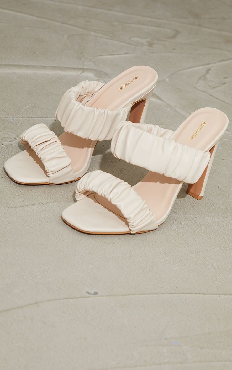 Cream Ruched Twin Strap Flat High Heeled Mules 3