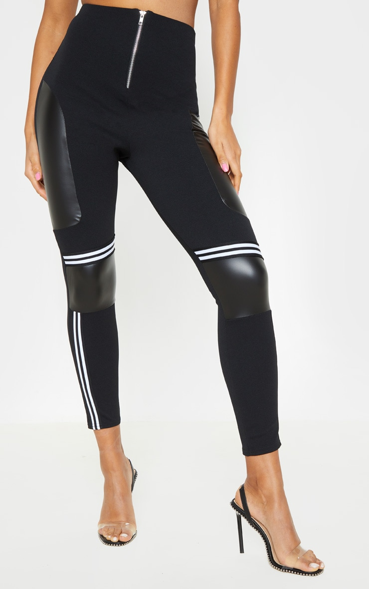 Black Motocross Panelled Trousers  2