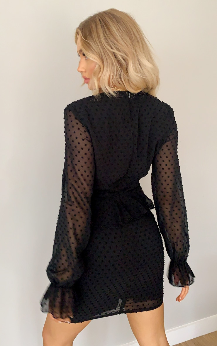 Black Dobby Mesh Twist Front Shift Dress 2
