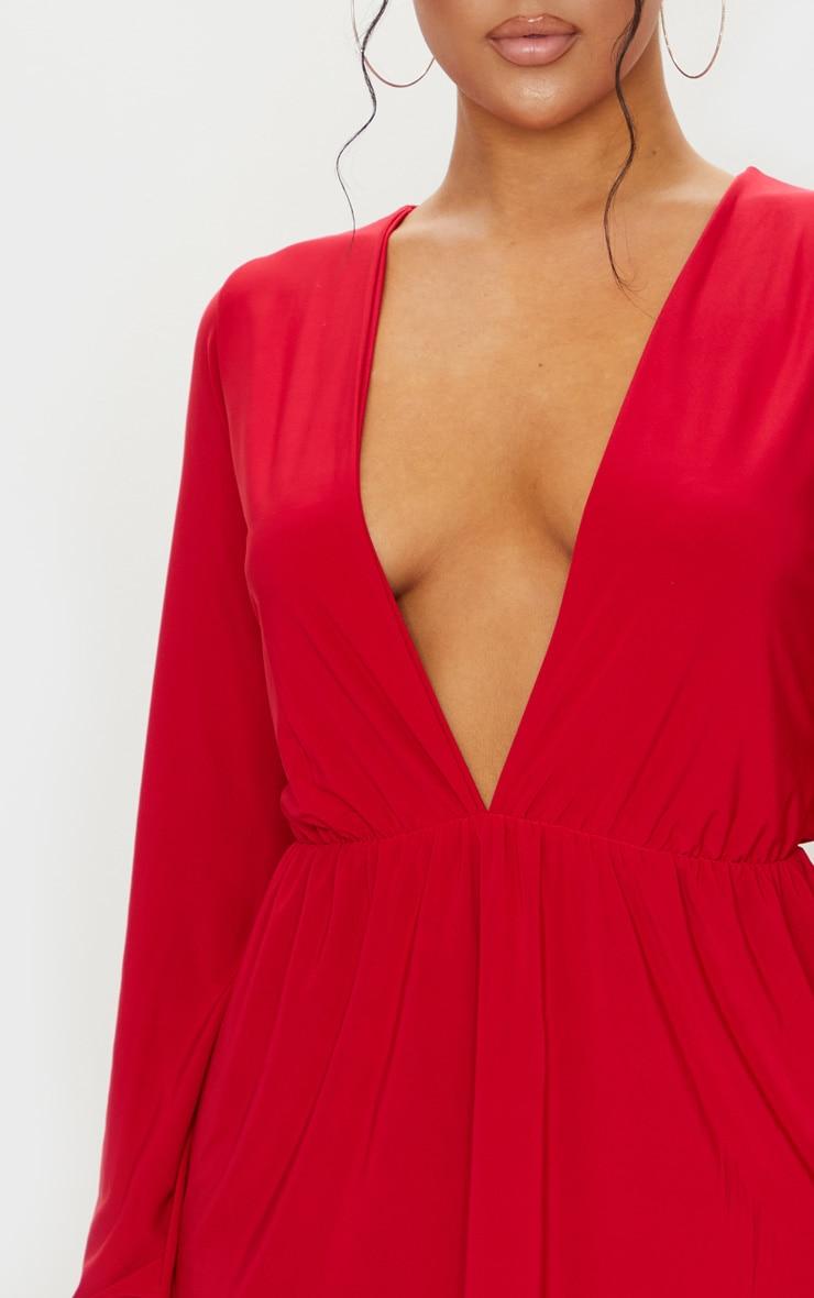 Red Slinky Plunge Extreme Split Shift Dress 3