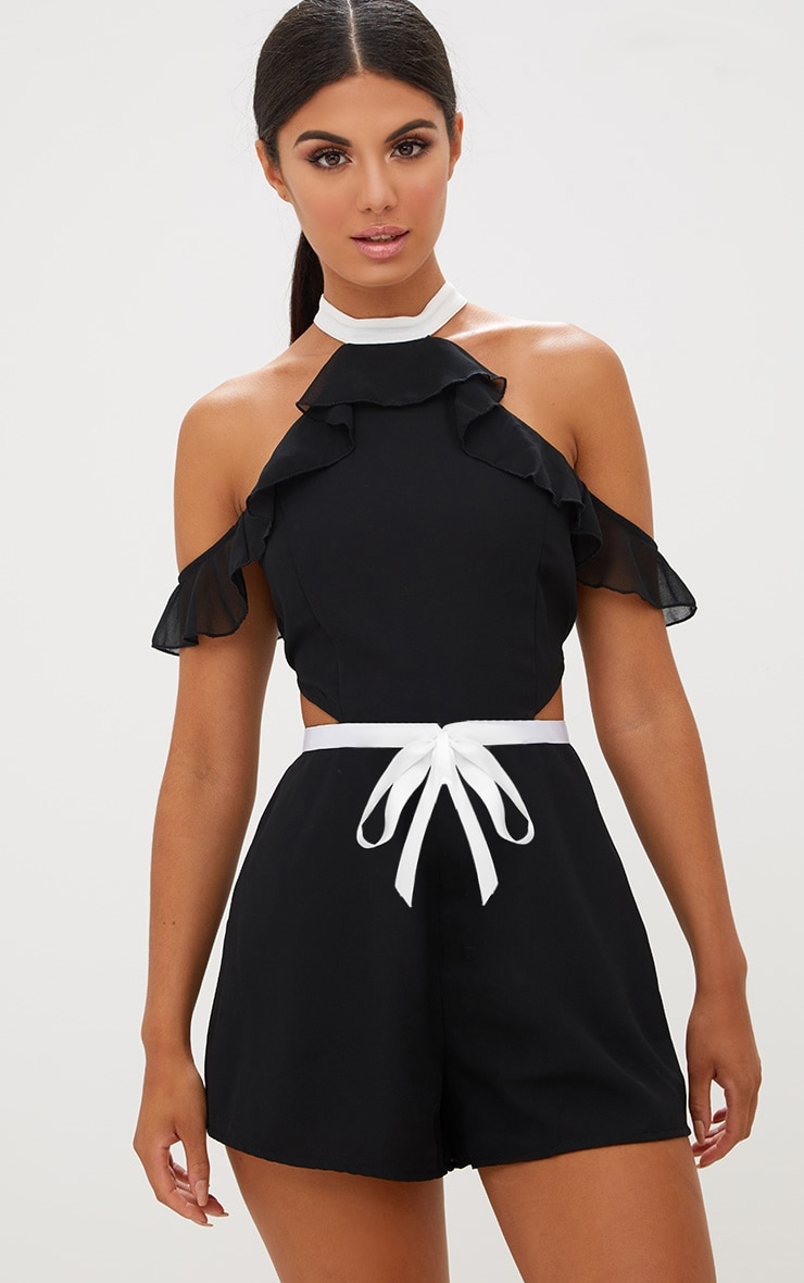 Black Ruffle Cold Shoulder Detail Contrast Playsuit 1