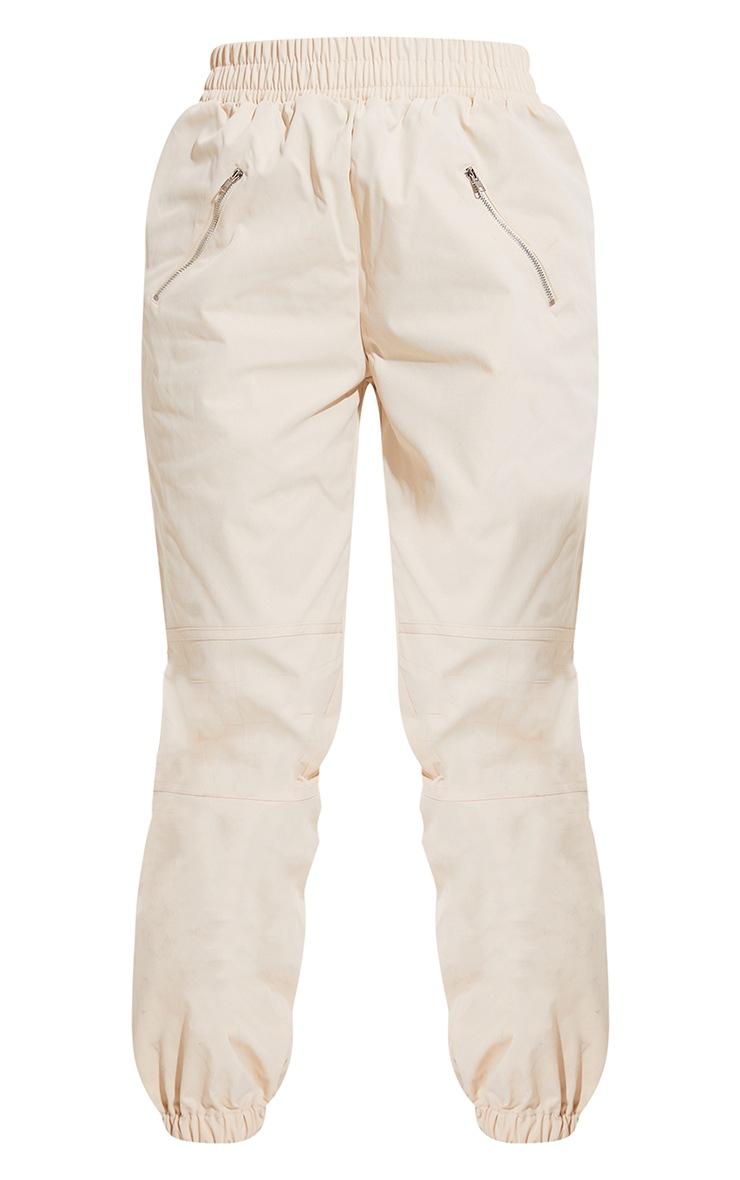 Cream Woven Zip Detail Cuffed Pants 5