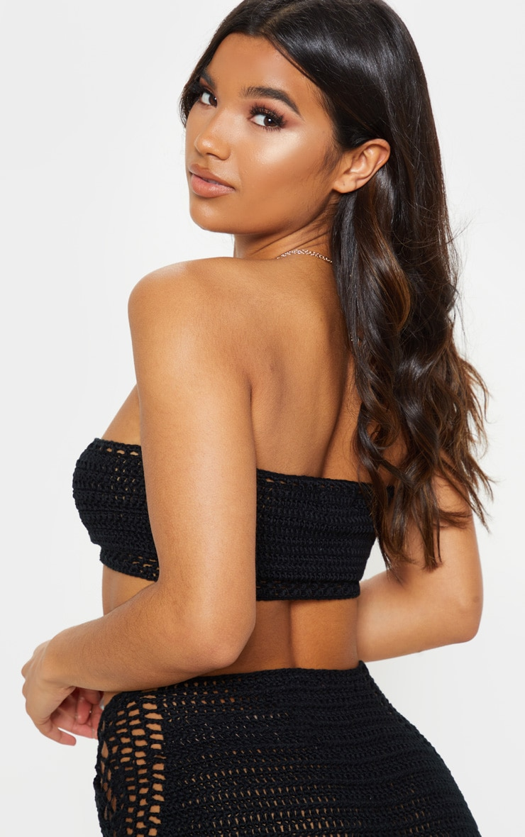 Black Crochet Knitted Lace Front Bandeau 2