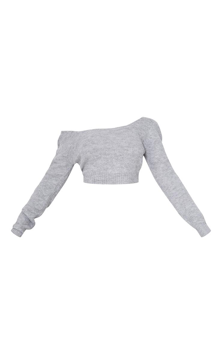 Grey V Neck Off Shoulder Soft Knitted Crop Jumper 5
