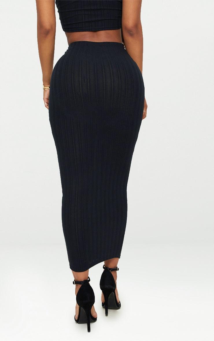 Shape Black Ribbed Longline Midi Skirt 4