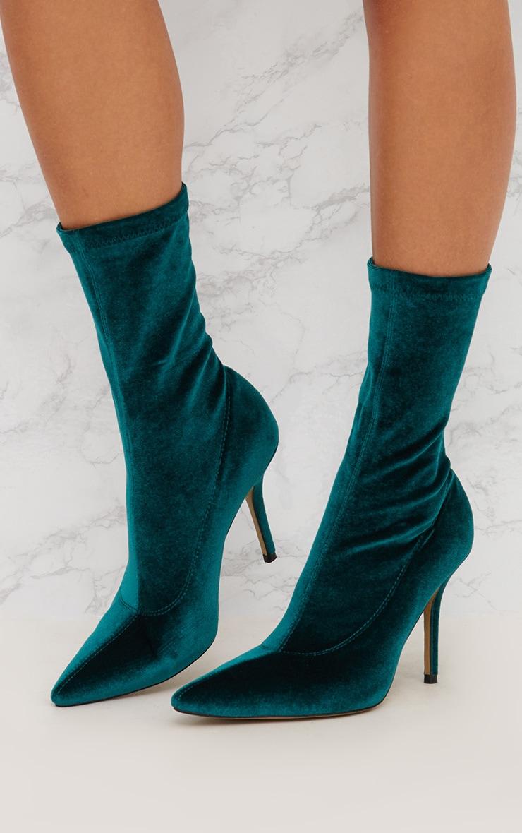 Jewel Green Velvet Pointy Sock Boots 2
