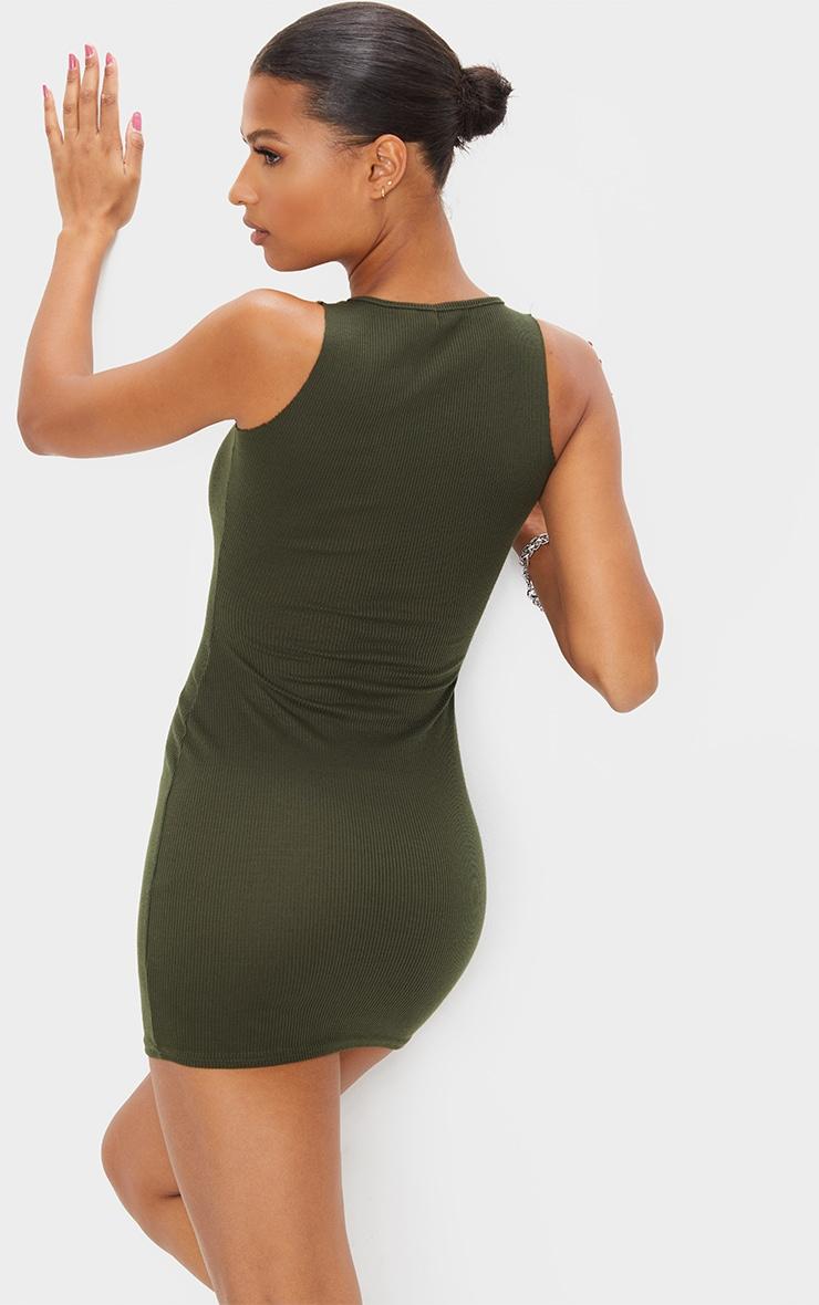 Khaki Ribbed Scoop Bodycon Dress 2