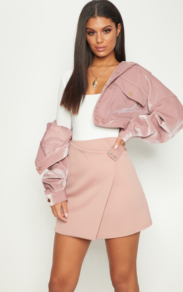 Rose Scuba Button Detail Wrap Skirt