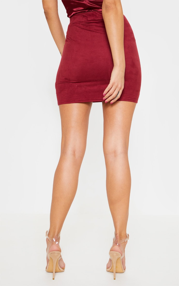 Maroon Faux Suede Ruched Mini Skirt  4