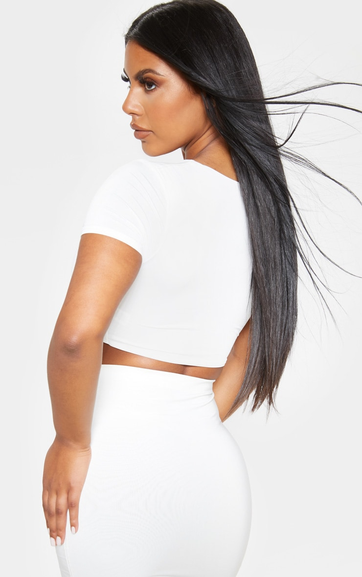 Cream Slinky Twist Front Crop Top 2
