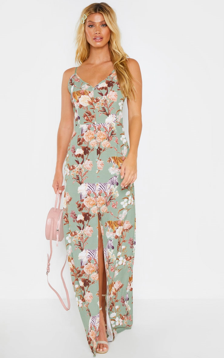 Sage Green Floral Print Button Through Maxi Dress 1