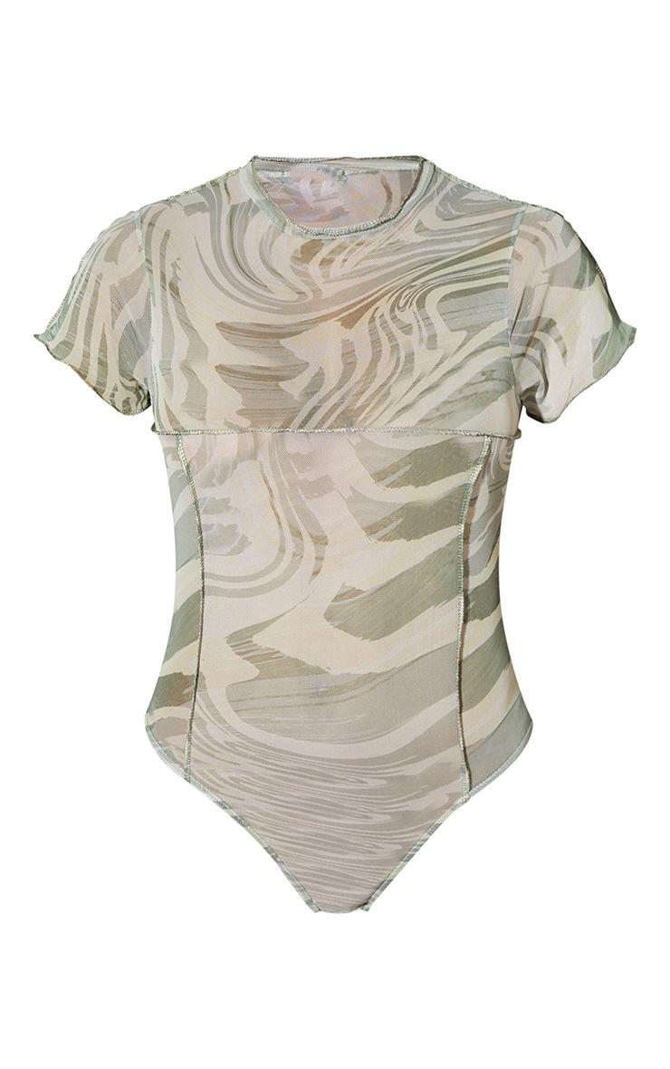 Sage Green Print High Neck Contrast Seam Short Sleeve Bodysuit 5