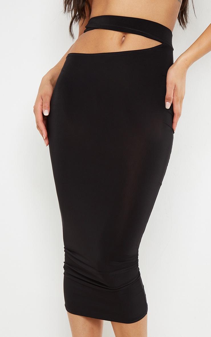 Black Slinky Cut Out Waist Detail Midi Skirt 4