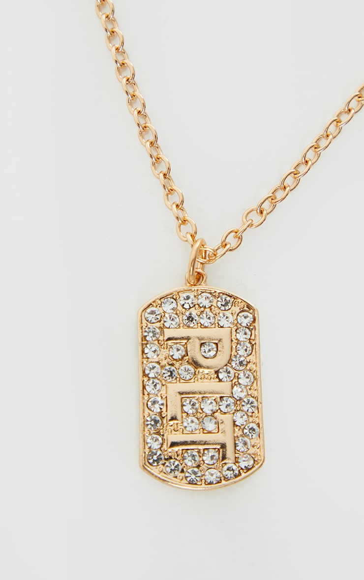 PRETTYLITTLETHING Gold Diamante Dog Tag Necklace 4