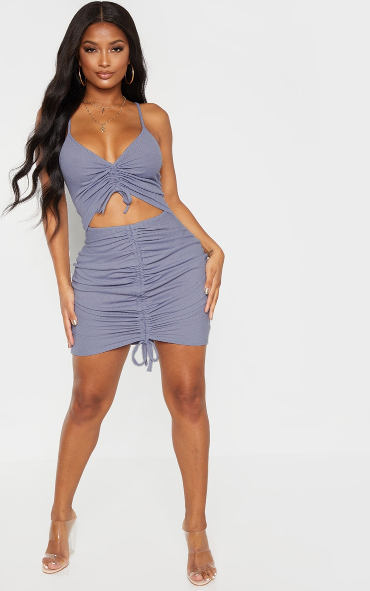 Shape Dusty Blue Ribbed Ruched Cut Out Bodycon Dress 4
