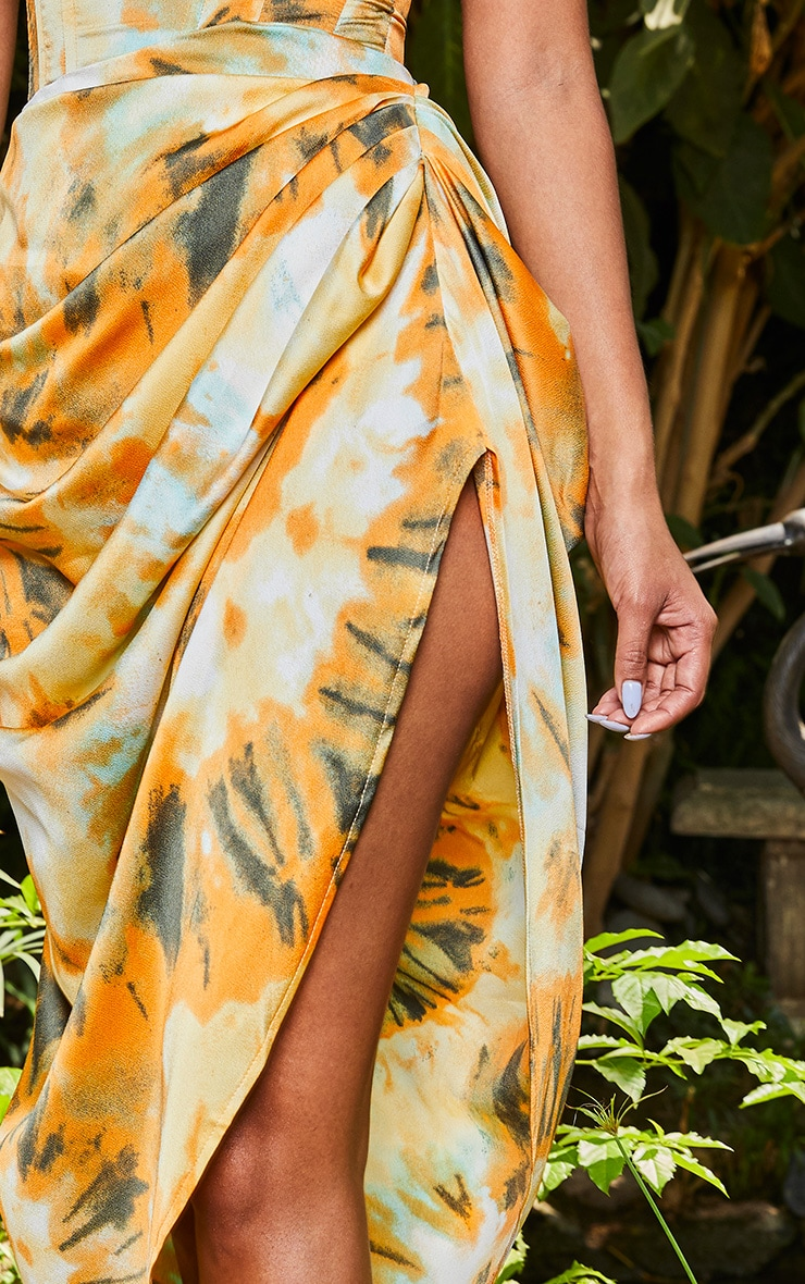 Orange Tie Dye Ruched Side Midi Skirt 4