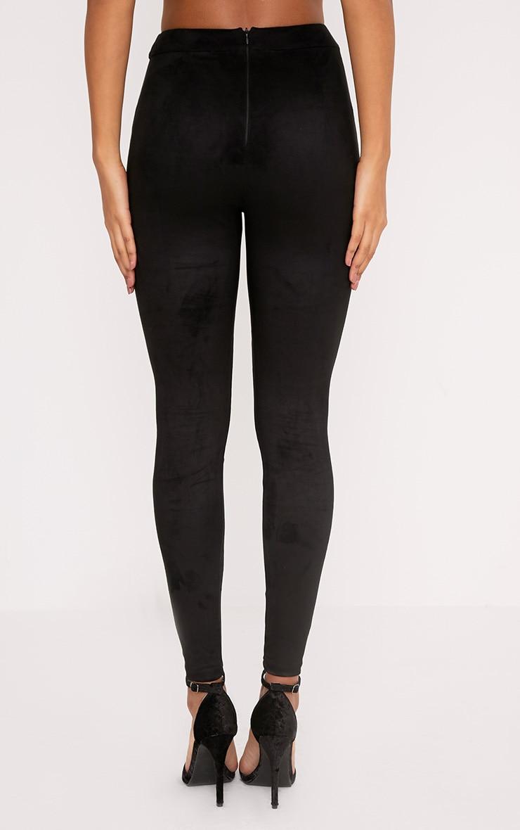 Elsie legging taille haute imitation daim noir 4