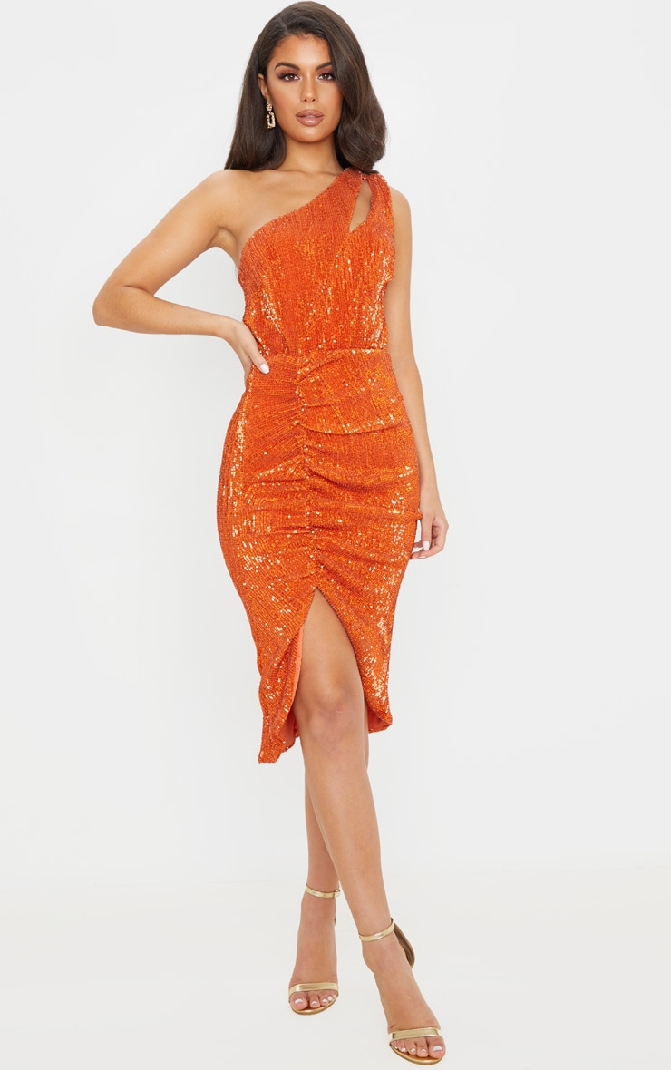 Rust Sequin One Shoulder Strap Cut Out Ruched Midi Dress 1