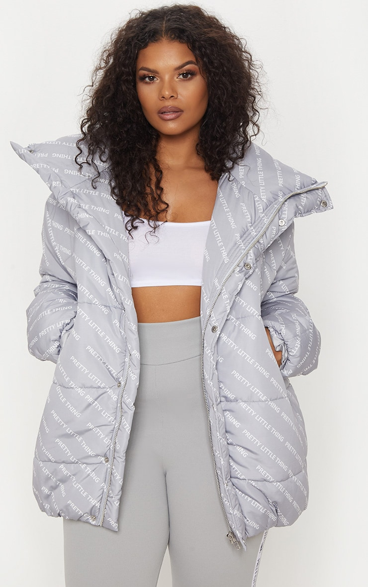 PRETTYLITTLETHING Plus Grey Print Puffer Jacket