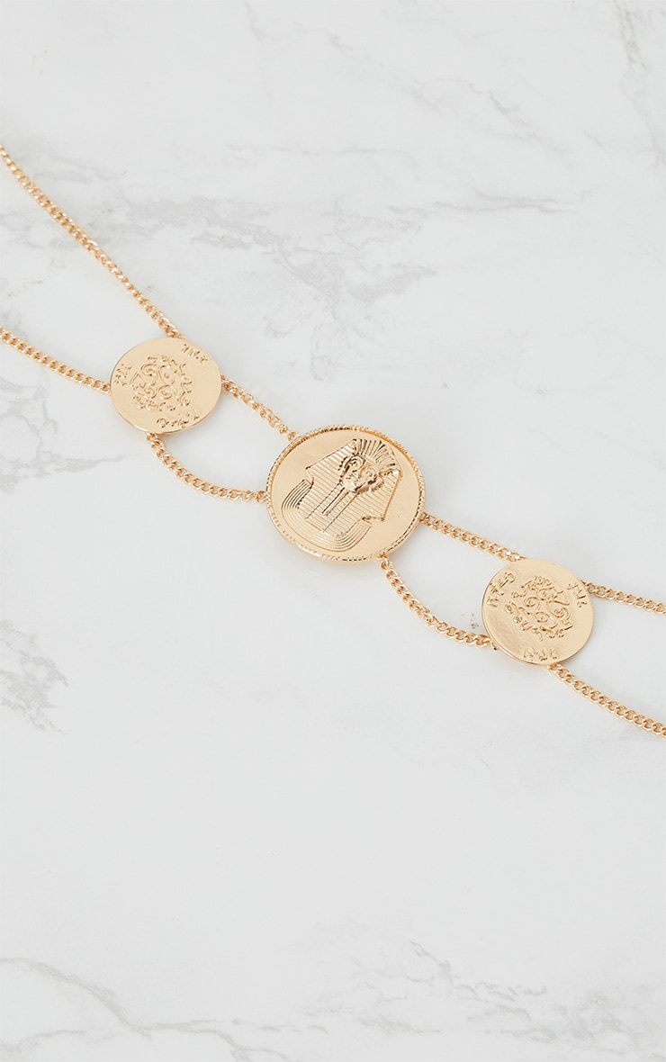 Gold Egyptian Triple Coin Necklace 4