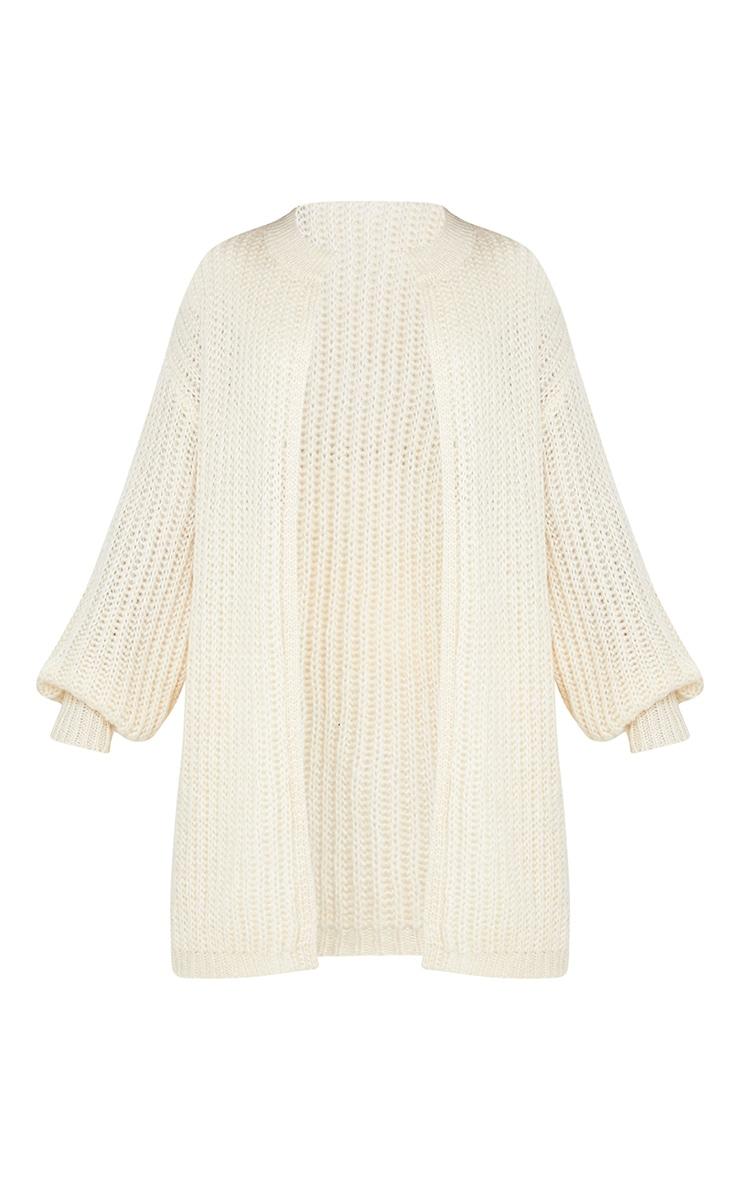 Cream Premium Fluffy Chunky Knit Balloon Sleeve Midi Cardigan 5