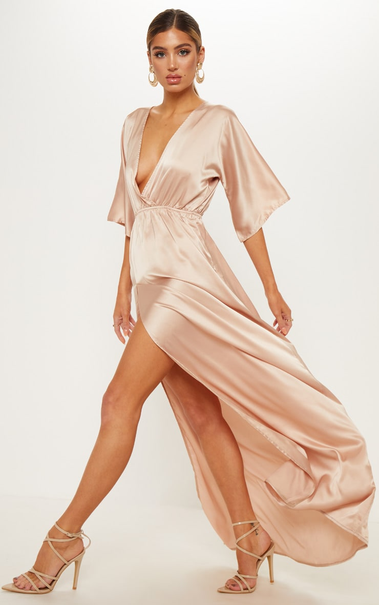Champagne Satin Split Leg Maxi Dress 1