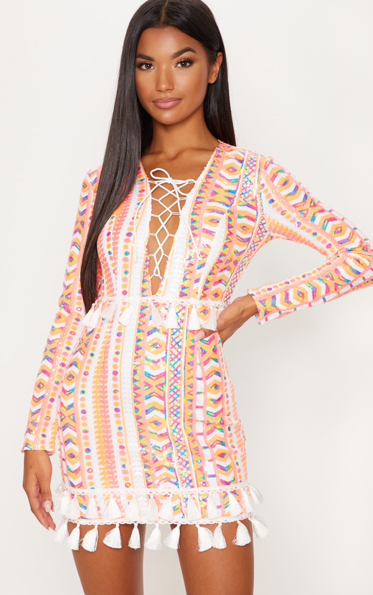 Orange Aztec Sequin Tassel Hem Bodycon Dress 1