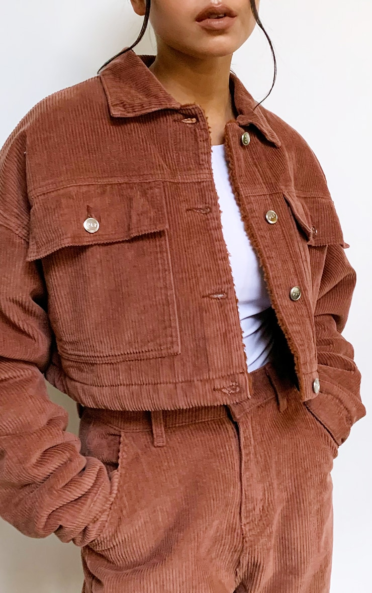 Rust Cord Borg Lined Cropped Trucker Jacket 4