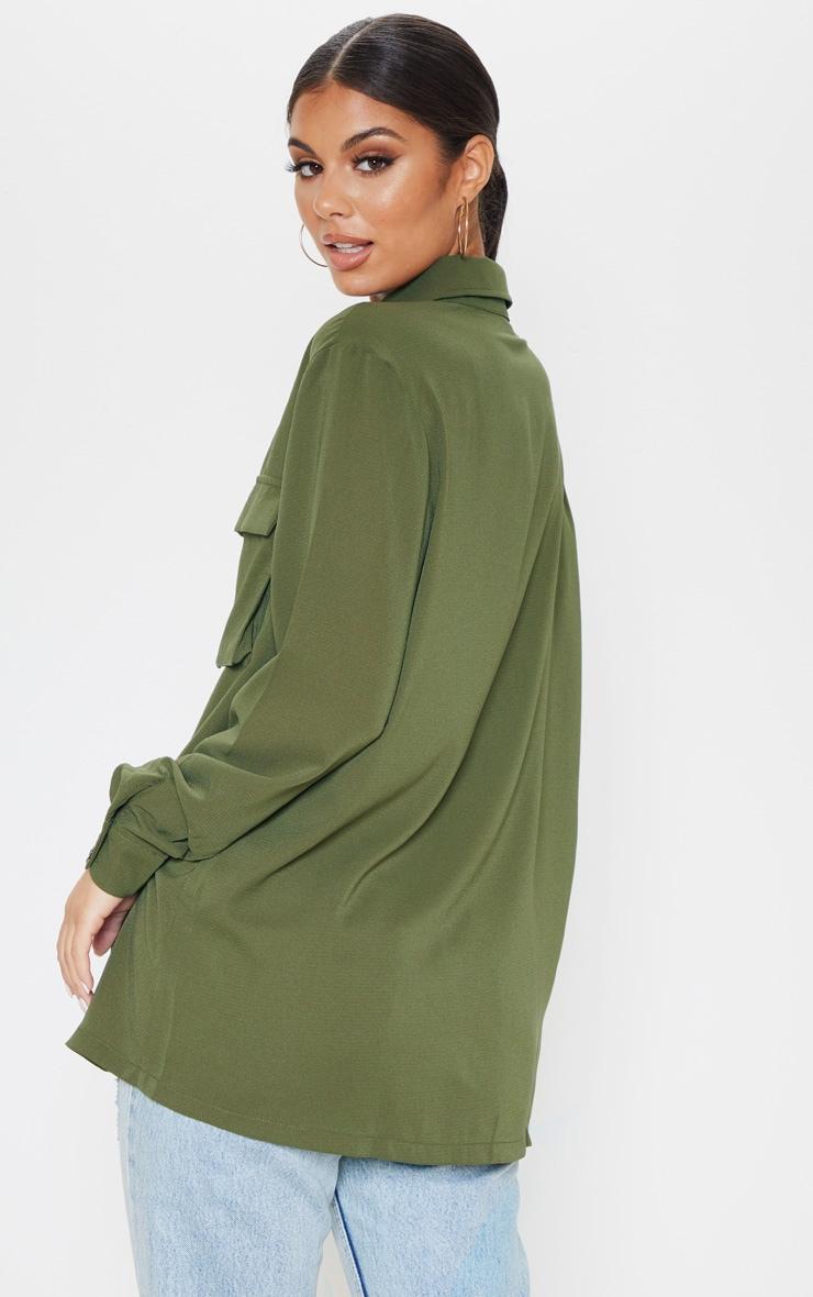 Olive Khaki Oversized Chiffon Shirt 2