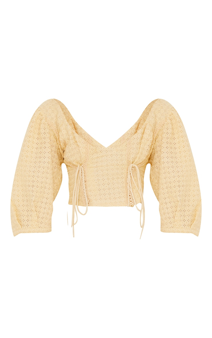 Lemon Broderie Puff Sleeve Double Lace Up Crop Top 5