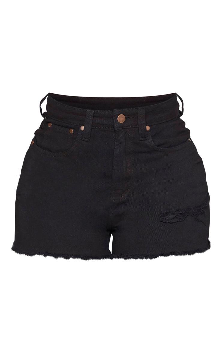 Shape Black Denim High Waist Mom Shorts 3