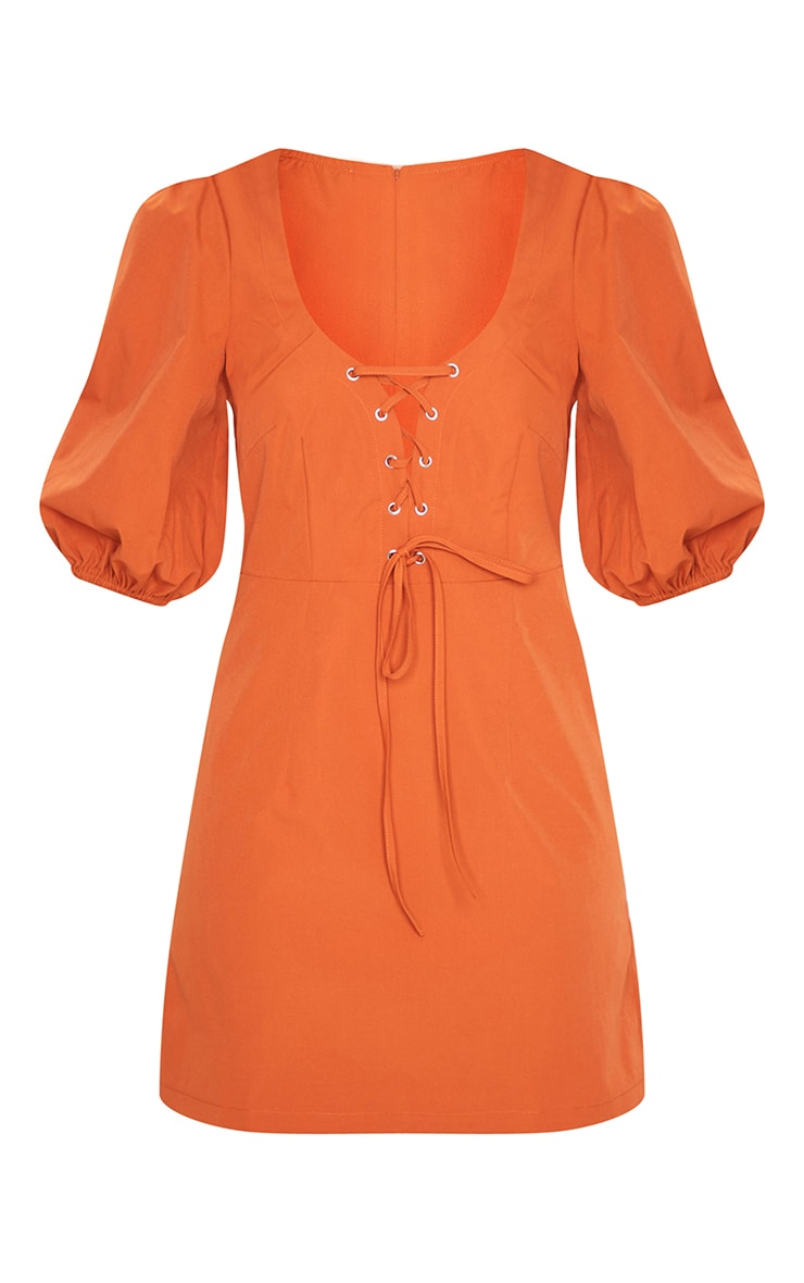 Rust Puff Sleeve Corset Detail Shift Dress 5