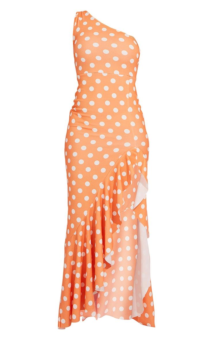 Tangerine Polka Dot One Shoulder Frill Split Maxi Dress 5