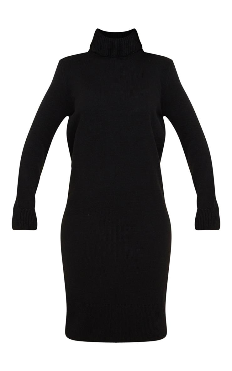 Black Roll Neck Shoulder Pad Knitted Midi Jumper Dress 5